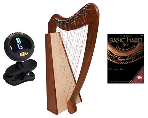 38 Strings Pro Quality Solid Rosewood Irish Celtic Cross Strung Harp + Snark Clip-On Chromatic Tuner For Guitar, Lute, Oud Dulcimer + Mel Bays Basic Harp Book For Beginners By Laurie Riley