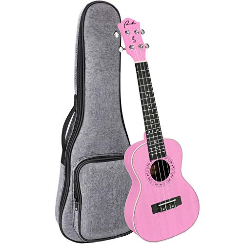 Concert Ukulele Ranch 23 inch Professional Wooden ukelele Instrument with Free Online 12 Lessons and Gig Bag – Small Hawaiian Guitar – Rose Pink