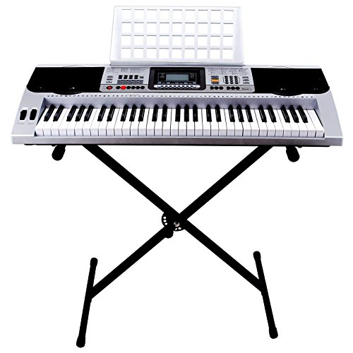 61 Key Classic Electronic Keyboard Piano Organ Portable Electric Music Digital LCD with Stand
