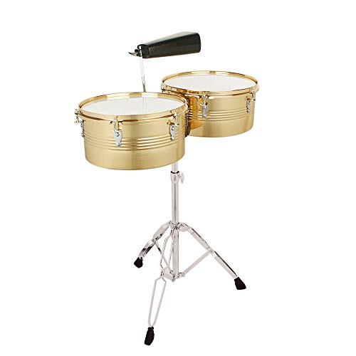 GHP Golden Metal Latin Percussion 13″ & 14″ Timbales Drum Set w Stand Cowbell & Sticks