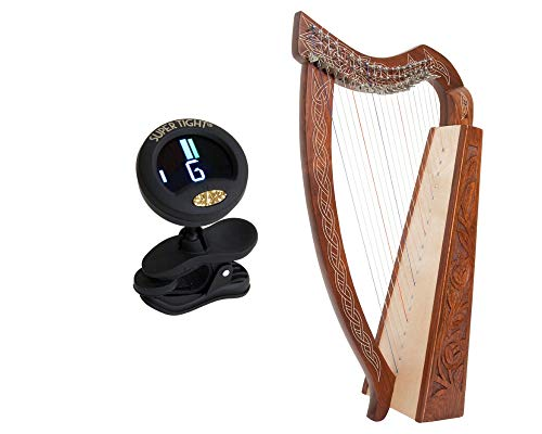 Pixie Harp Package Includes: 19 Strings Irish Celtic Pixie Harp Full Levers ~ Free Extra Strings & Tool + Snark Clip-On Chromatic Tuner For Guitar, Lute, Oud Dulcimer