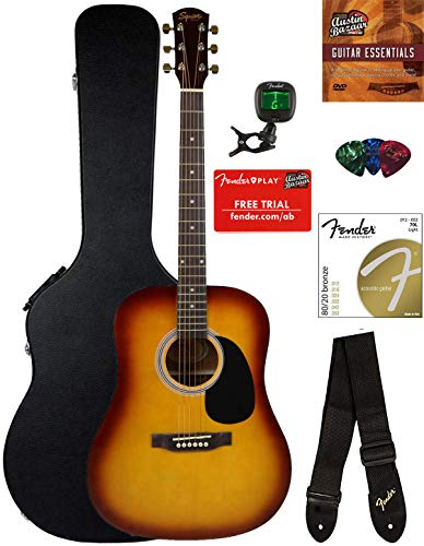 Fender Squier Dreadnought Acoustic Guitar – Sunburst Bundle with Hard Case, Tuner, Strap, Strings, Picks, and Austin Bazaar Instructional DVD