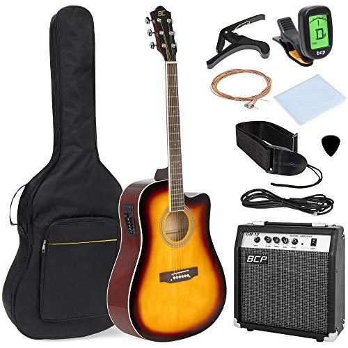 Best Choice Products 41in Full Size Acoustic Electric Cutaway Guitar Set w/10-Watt Amp, Capo, E-Tuner, Case, Accessories