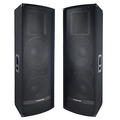 Sound Town 2-Pack Dual 15″ 2800W 2-Way Full-range Passive DJ PA Pro Audio Speaker with Titanium Compression Driver for Live Sound, Karaoke, Bar, Church (METIS-215-PAIR)