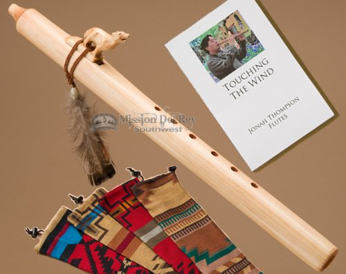 Native American Flute Pack -Natural Wolf & Bag