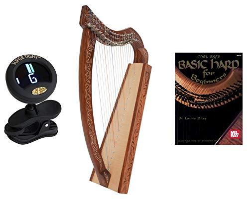 Roosebeck Pixie Harp 19-String Non Standing + Snark Clip-On Chromatic Tuner For Guitar, Lute, Oud Dulcimer + Mel Bays Basic Harp Book For Beginners By Laurie Riley
