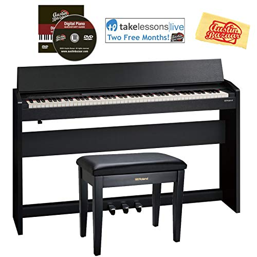 Roland F-140R Digital Piano – Contemporary Black Bundle with Roland RPB-100 Bench, Online Lessons, Austin Bazaar Instructional DVD, and Polishing Cloth