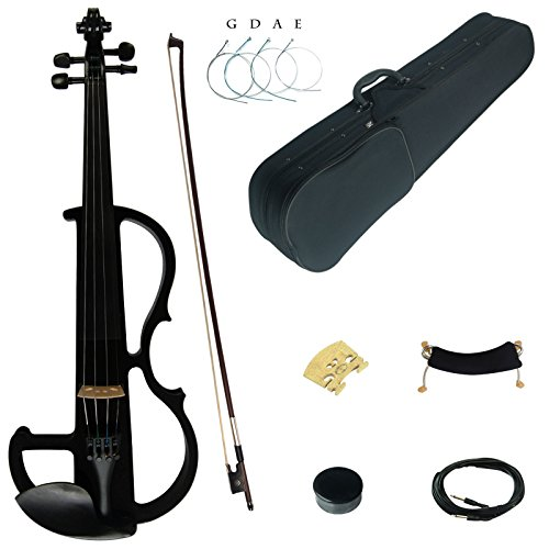 Kinglos 4/4 Black Colored Solid Wood Advanced Electric / Silent Violin Kit with Ebony Fittings Full Size (DSG1801)