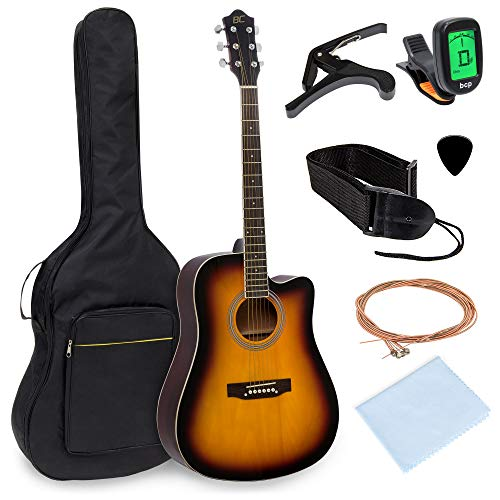 Best Choice Products 41in Full Size Beginner Acoustic Cutaway Guitar Kit Musical Instrument Bundle Set w/Padded Case, Strap, Capo, Extra Strings, Digital Tuner, Polishing Cloth, 4 Picks – Sunburst