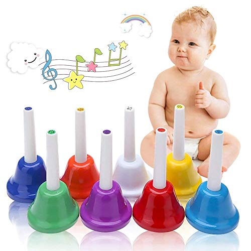 Koogel Hand Bells Set,8 Note Coloful Diatonic Metal Bells Musical Learning at an Early Age for Kids Children