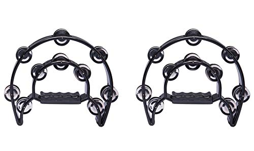Foraineam 2 Pieces 9″ Half Moon Handheld Tambourine – Double Row 20 Pairs Jingles Musical Percussion – Black