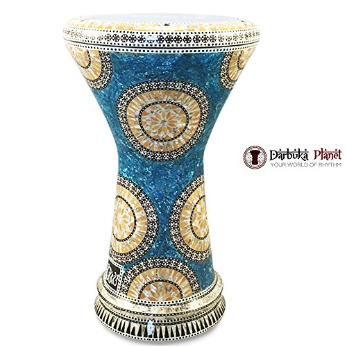 Gawharet El Fan 18.5″ Blue Lagoon NG Sombaty Mother of Pearl Darbuka Doumbek Drum