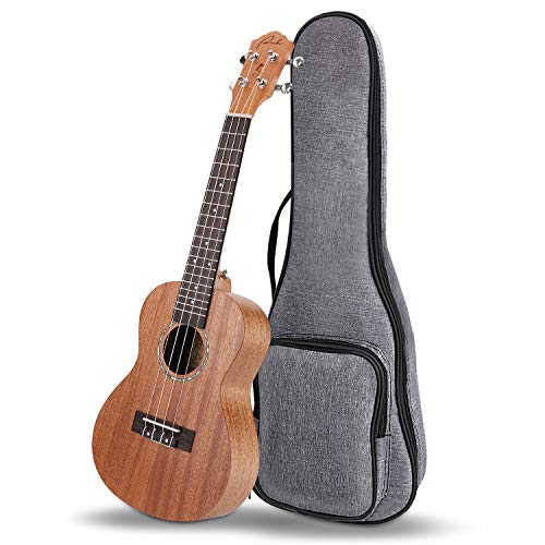 Concert Ukulele Ranch Mahogany Solid Top Ukuleles 23 inch Professional Wooden ukelele Upgraded Instrument with Free Online 12 Lessons and Gig Bag – Small Hawaiian Guitar – Natural