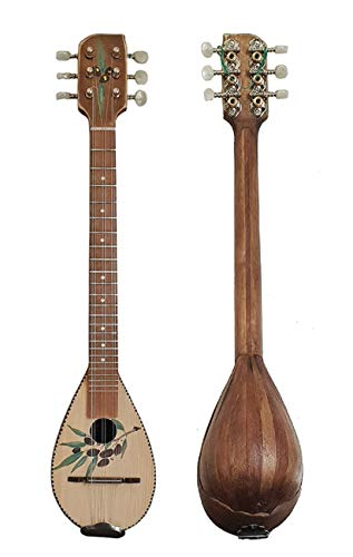 Baglama Baglamas Greek Traditional Music Instrument Handmade Small Bouzouki Brown With Greece Olive Paint + Case