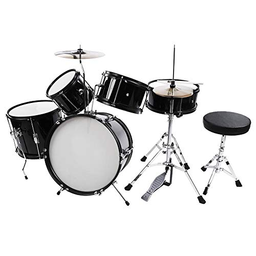 Acoustic Drum Set, 5Pcs Full Size Drum Kit Stool Drumsticks Pedal Beginners Set Percussion Musical Instrument Set for Children Adults