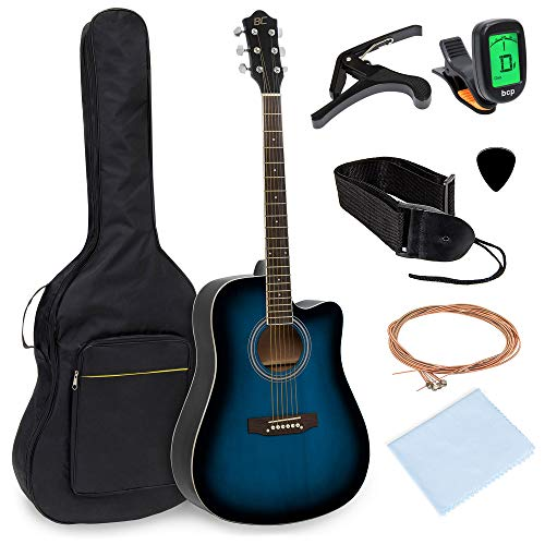 Best Choice Products 41in Full Size Beginner Acoustic Cutaway Guitar Kit Musical Instrument Bundle Set w/Padded Case, Strap, Capo, Extra Strings, Digital Tuner, Polishing Cloth, 4 Picks – Blue