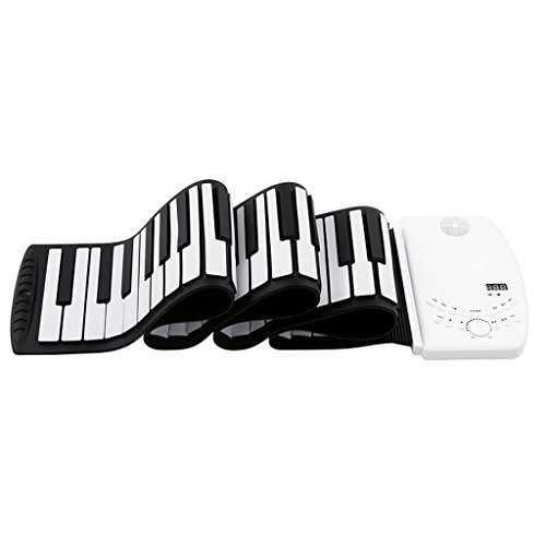 DUWEN Keyboard Children's Keyboard Hand Roll Piano 61 Keys Portable Collapsible Chargeable (Color : White)