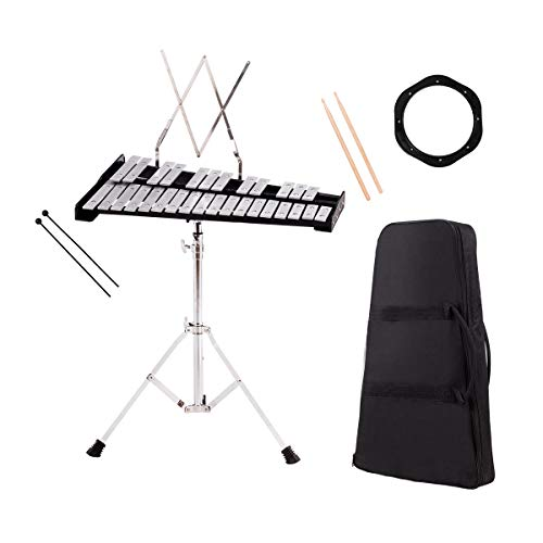Giantex Glockenspiel Percussion Practice Bell Kit Set 30 Note with Mallets Drums Bells Practice Pad Professional Music Stand Xylophone for School Kid Band Teacher, Percussion Glockenspiels w/Bag Case