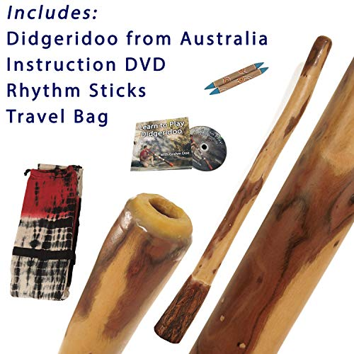 Didgeridoo Authentic Eucalyptus made in Australia Package Deal with Travel Bag and FREE Instruction DVD