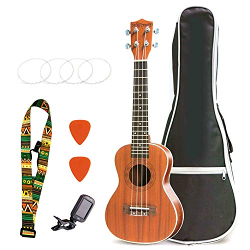 Evershine Soprano Ukulele Music Beginner Instrument Ukulele for Women and Children Starter Kit with Gig Bag, Picks, String, Travel Camping with Your Ukulele (23in)
