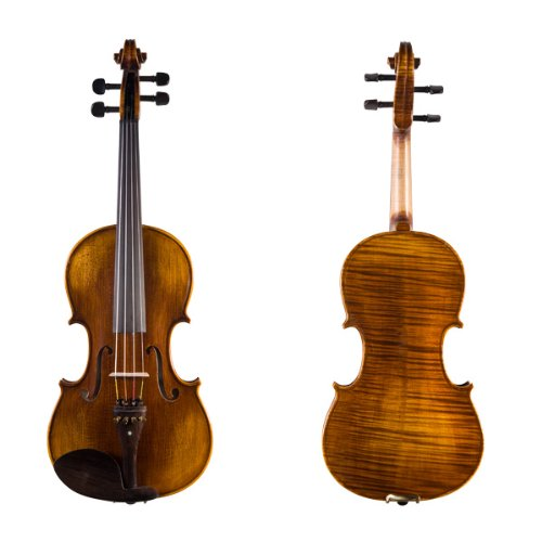 Cecilio 15 Inch Hand Oil Rubbed Highly Flamed 2-Piece Back Solidwood Viola, CVA-600
