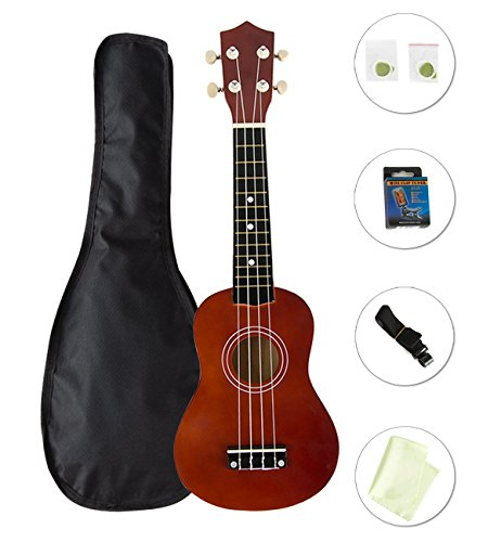Choies 21″ Soprano Ukulele Four String Guitar Beginner Pack With Gig Bag Tuner Strap Polish Cloth Extra String Pick Basswood