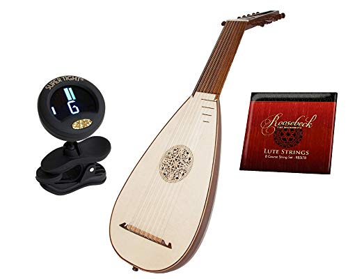 8-Course Travel Lute Package Includes: Roosebeck 8-Course Travel Lute – Lefty Left Handed + Roosebeck 8-Course Lute String Set + Snark Clip-On Chromatic Tuner For Guitar, Lute, Oud Dulcimer