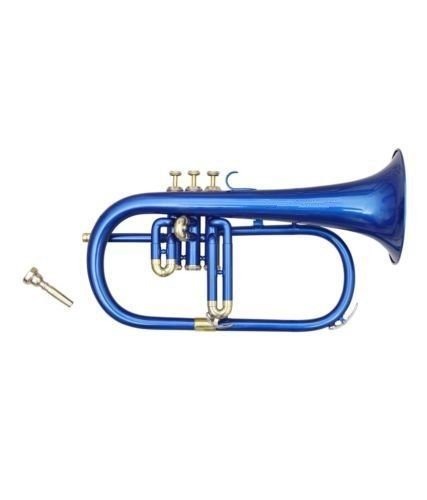 SC Exports Flugelhorn 4Valve Bb/F Pitch W/Case & Mp Blue