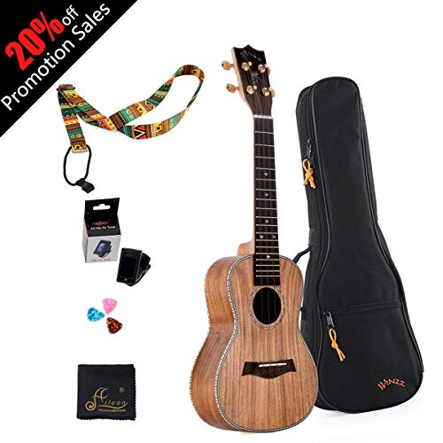 WINZZ 23″ Concert Solid Koa Wood Ukulele for Professional Performance with All Accessories