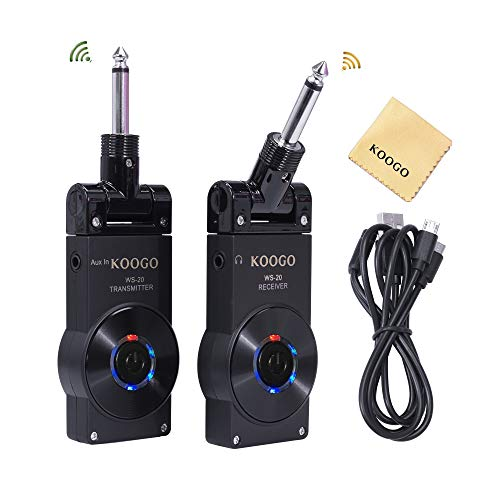 Koogo Guitar Wireless System Transmitter Receiver for Electric Guitar Bass Violin with Rechargable Battery, USB Cable (Full Black)