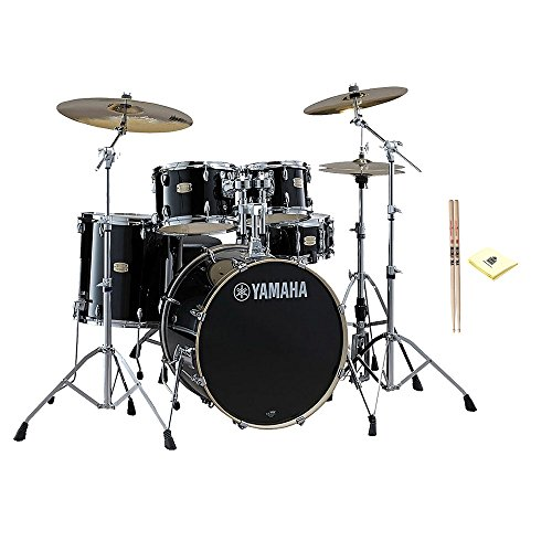 Yamaha Stage Custom Birch 22″ Kick 5-Piece Shell Pack in Raven Black Finish With Zildjian Vic Firth American Classic 5A Drum Sticks And Custom Designed Instrument Cloth