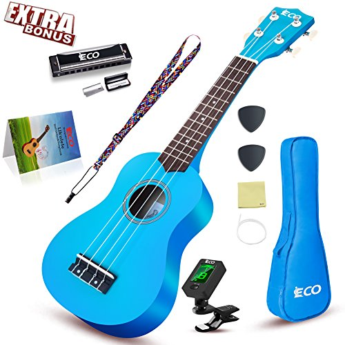 Soprano Ukulele Starter Set-21 Inch w/Gig Bag Learn to Play Songbook Digital Tuner Strap All in One Kit Color Series Blue