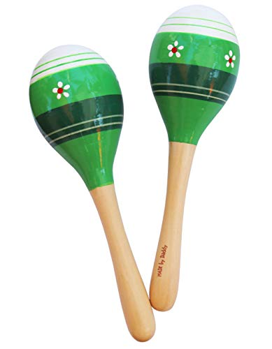 Maracas Party Favors – Set of 2 Wooden Percussion Musical Instrument Maracas for Kids and Adults
