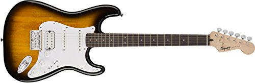 Squier by Fender Bullet Stratocaster Beginner Hard Tail Electric Guitar – HSS – Brown Sunburst