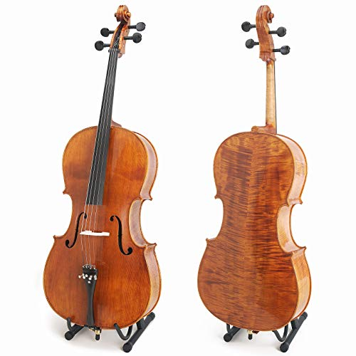 Cecilio Acoustic Hand Oil Rubbed Cello with Ebony Fittings, Size 4/4