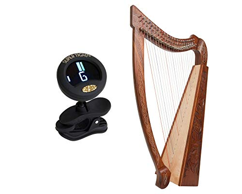 Celtic Heather Harp Package Includes: Roosebeck Celtic Heather Harp – Thistle Design + Snark Clip-On Chromatic Tuner for Harp