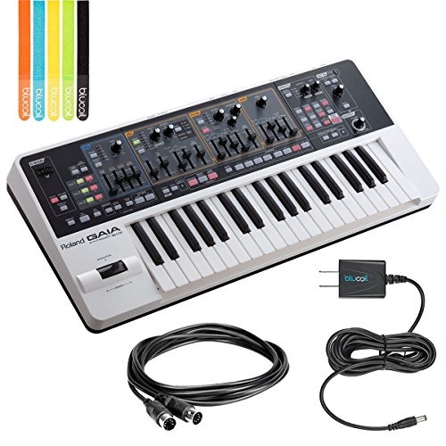 Roland GAIA SH-01 Analog Synthesizer -INCLUDES- Hosa MID-305BK 5-ft MIDI Cable, Blucoil Power Supply Slim AC/DC Adapter for 9V DC 670mA AND 5-Pack of Cable Ties