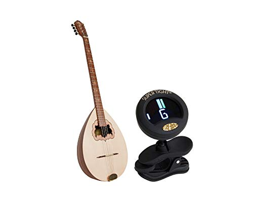 Roosebeck Bouzouki Package Includes: Professional Quality Solid Bouzouki W/Stave Body & Padded Gig Bag, Sheesham + Snark Clip-On Chromatic tuner for Guitar, Lute, Oud & Dulcimer