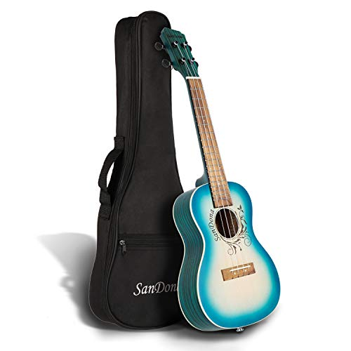 SANDONA Acoustic Electric Concert Ukulele 24 Inch Kit eUKC-141 | Spruce Solid Wood | Under-Saddle Piezo Bridge Pickup, Strap, Premium Strings, Digital Tuner and Gig bag | Plage