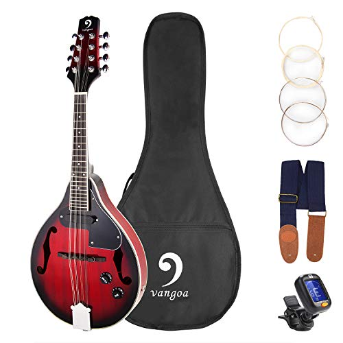 Vangoa A Style 8 Strings Acoustic Electric Mandolin Redburst Mahogany with Gig Bag Picks Extra Strings Tuner and Strap