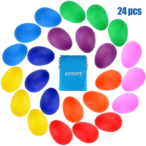 24PCS Plastic Egg Shakers Percussion Musical Egg Maracas Toys Music Learning DIY Painting(8 Colors)