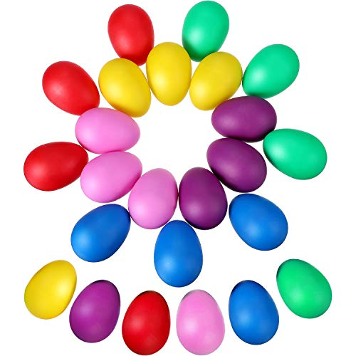 Hestya 48 Pieces Egg Shakers Maracas Eggs Plastic Eggs Musical Eggs for Kids Toys Party Supplies, 6 Colors