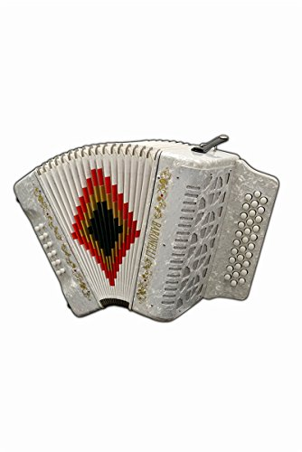 Full Size 31 Button White Diatonic Accordion Key of FA F,B,E, with Hardshell Case and Back Straps, with 2 Months Free Lessons Included, & DirectlyCheap(TM) Pick