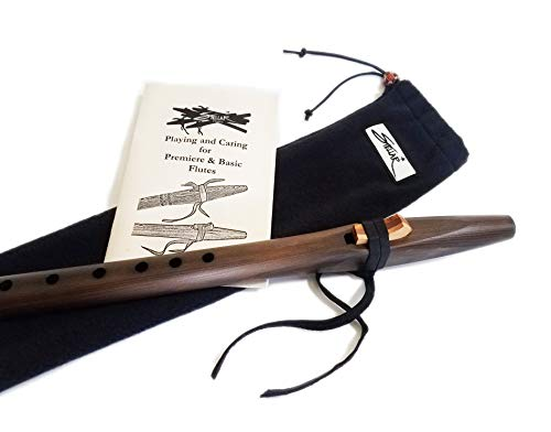 Stellar Basic Flute Key of F# – Native American Style Flute with Carrying Case (Dark Stained Cedar)