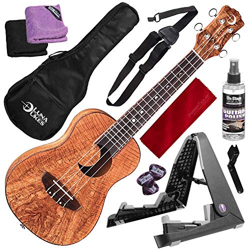 Luna Exotic Series Spalt Maple Concert Ukulele with Crescent Moon Soundhole and Professional Stand Deluxe Bundle
