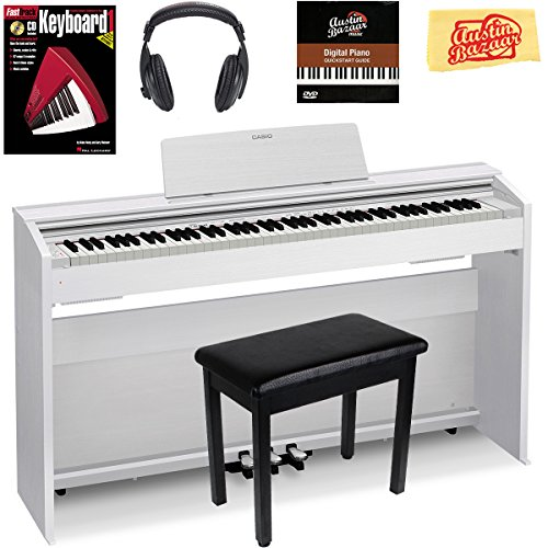 Casio Privia PX-870 Digital Piano – White Bundle with Furniture Bench, Instructional Book, Austin Bazaar Instructional DVD, and Polishing Cloth