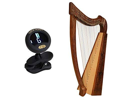 Celtic Heather Harp Package Includes: Roosebeck Celtic Heather Harp (Knotwork) + Snark Clip-On Chromatic Tuner For Guitar, Lute, Oud Dulcimer