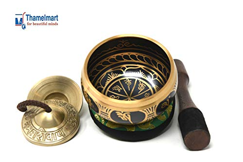 Tibetan Singing Bowl- 3.75″ Beautiful Bell-Metal Black Bowl with Gold Mantra-Great for Meditation,Yoga & Healing- Wooden Mallet, Green Cushion with Extra Om Tingsha Chimes Included-Handmade in Nepal