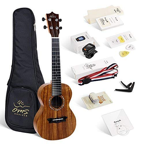Enya OMS 04 Concert Ukulele Koa Top Bundle 23 Inch Ukelele with Padded Gig Bag, Strings, Tuner, Strap, Capo, Picks, Polishing cloth