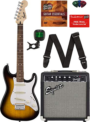 Squier by Fender Short Scale Stratocaster – Brown Sunburst Bundle with Frontman 10G Amp, Cable, Tuner, Strap, Picks, Fender Play Online Lessons, and Austin Bazaar Instructional DVD